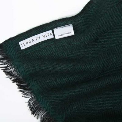 Herringbone Cashmere Stole Green/Black