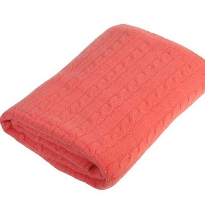 Cashmere Cable Knit Throw Coral