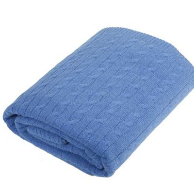 Cashmere Cable Knit Blanket Azure Blue