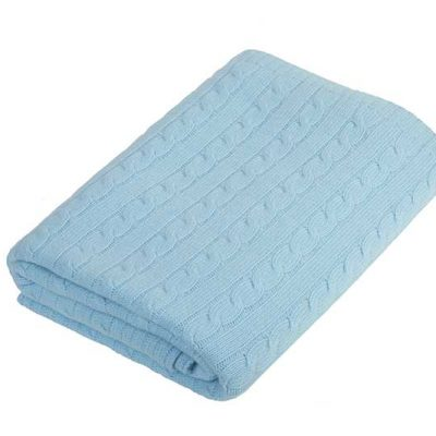 Cashmere Cable Knit Throw Sky Blue