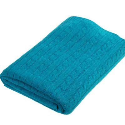 Cashmere Cable Knit Throw Emerald Green