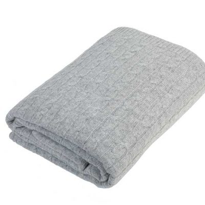 Cashmere Cable Knit Blanket Stone Gray
