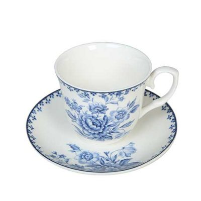 Ornate Blue Cup & Saucer