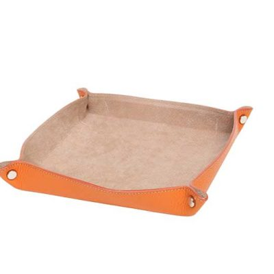 Leather Change Tray Orange