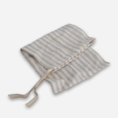 Linen Bread Bag in Stripy Beige/White